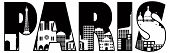 Paris City Skyline Text Outline Illustration