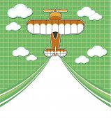 airplane cartoon with blank contrail