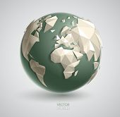 Vector world globe illustration, with 3d triangular map of the earth, and smooth shadows. The artwor