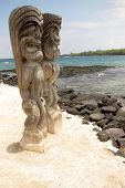 Sacred Statue in the City of Refuge at the Pu'uhonua o Honaunau National Park in Hawaii.