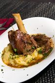 image of lamb shanks  - Braised lamb shank in mint and rosemary gravy - JPG