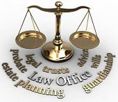 stock photo of symbol justice  - Scale with legal concepts of lawyer attorney law office estate such as planning probate wills - JPG