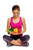 confident young woman with healthy vegetarian food diet