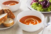Tomato Soup With Side Salad And Crusty Bread