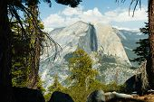 pic of granite dome  - A view from the Sentinel Dome in Yosemite California USA - JPG