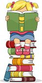 Illustration of a Little Kid Girl Sitting on Pile of Books while Reading a Book