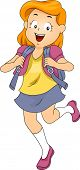 Illustration of a Kid Girl Student wearing a Backpack