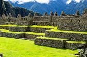 stock photo of world-famous  - Machu Picchu the ancient Inca city in the Andes Peru - JPG