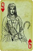 stock photo of cleopatra  - Playing card with the drawn figure - JPG