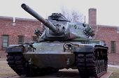 stock photo of missles  - Army tank in front of armory on staten island - JPG