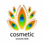 Vector creative design For Cosmetics In The Form Of A Peacock Feather
