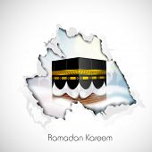 foto of kaba  - Hanging illuminated Arabic lamps on wooden background for Ramadan Kareem - JPG