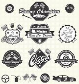 Vector Set: Retro Race Car Champion Labels
