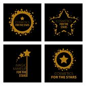Collection of vector icons of design magic makeup for the stars