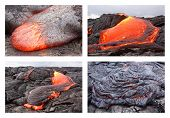 stock photo of magma  - Basaltic pahoehoe lava flow in Hawaii - JPG