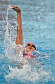 KAPOSVAR, HUNGARY - MAY 25: Unidentified competitor swims at the Csik Ferenc Centennial Memorial Swimming Competiton on May 25, 2013 in Kaposvar, Hungary.