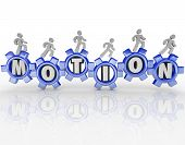 Das Wort Bewegung in Gang und Menschen zu Fuß auf sie zu verlegen, um ein Team arbeiten Zusamme zu veranschaulichen