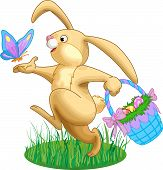 stock photo of easter bunnies  - Illustration of rabbit with a basket full of eggs and butterfly - JPG
