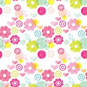 Seamless flower pink summer blossom retro background pattern in vector