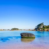 Ploumanach, Rock And Bay Beach In Morning, Brittany, France.