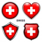 Swiss flag icons, vector buttons.
