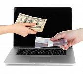 Two people exchange currency on laptop background isolated on white