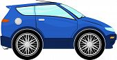 funny blue car cartoon