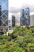 Parque de Hong Kong y los rascacielos circundantes, Distrito Central, isla de Hong Kong