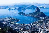 Rio De Janeiro, Brasil. Suggar pão e praia de Botafogo, visto do Corcovado