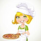 Cute Girl Chef Offers A Taste Of Pizza Isolated On White Background