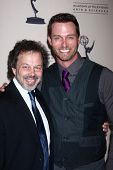 LOS ANGELES - JUN 13:  Curtis Armstrong, Eric Martsolf arrives at the Daytime Emmy Nominees Receptio