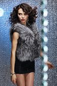 Glamour. Shapely Good Looking Woman In Gray Fur Waistcoat