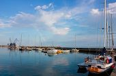 Sunny Day In Balchik Harbor With A Colorful Rainbow