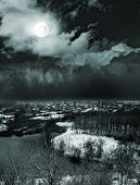 image of moonlit  - moonlit night and clouds on night sky - JPG