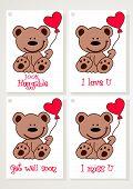 Teddy Bear And Heart Cards.eps