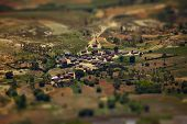 Traditional Malagasy village with tilt shift effect. Madagascar