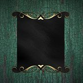 Wood Background with Black plate and a beautiful gold trim