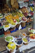 elevated view of a tropical fruit market on the island of madeira, portugal
