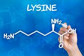 Hand with pen drawing the chemical formula of lysine