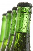 forefront of  a green bottles of beer