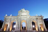 night view of the  famous Puerta de Alcala, Madrid, Spain