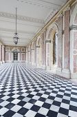 colonnaded courtyard at the Grand Trianon in Palace  Versailles, France. The Grand Trianon was a pri