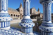 Ceramic fence in Spain's Square, located in the Parque Maria Luisa, was the  venue for the Latin American Exhibition of 1929, Seville, Andalucia, Spain