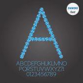 Blue Diamond Alphabet And Digit Vector