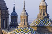 View of the  towers of basilica of the Virgen del Pilar, Zaragoza, Aragon, Spain