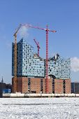 Hamburg, Germany - February 5, 2012: Construction site of the Elbphilharmonie building by architects