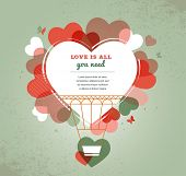 Love vector background with heart shape hot air balloon , Valentines day background