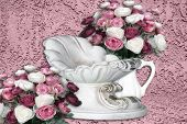 pic of purple rose  - pink floral roses surrounding infant cradle on background - JPG