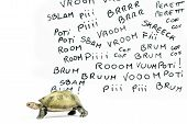 stock photo of noise pollution  - one turtle are inside the traffic noise - JPG