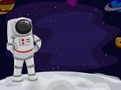 stock photo of outerspace  - Illustration of an Astronaut Giving a Thumbs Up from Space - JPG